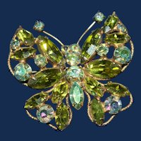 Vintage Regency Seafoam Green and AB Butterfly Brooch