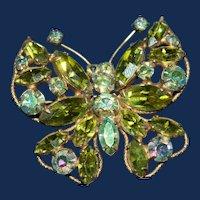 Vintage Regency Seafoam Green and AB Butterfly Brooch