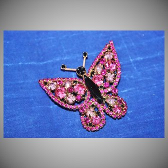 Vintage Unsigned Butterfly Brooch with Light Pink, Dark Pink, and Black Chatons and Solid Black Marquise Body
