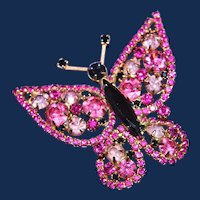 Vintage Unsigned Butterfly Brooch with Shades of Pink and Black Rhinestones
