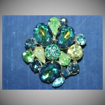 Vintage Unsigned Brooch with an Opalite Cabochon, Citrine, Sea Foam Green, Aquamarine, and Peacock Blue Colored Rhinestones