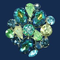 Vintage Gold Tone Brooch with Blue Green Rhinestones and Crackle Glass
