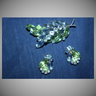 Vintage Unsigned Brooch and Earrings with Navettes and Chatons in Sea Foam Green and Aquamarine Colored Rhinestones