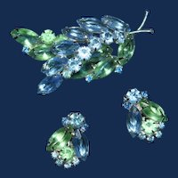 Feather Shape Blue and Green Rhinestone Brooch with Earrings