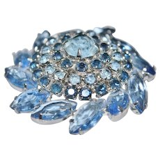 1950-1960 Unsigned Rhodium Plated Domed Brooch