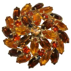Vintage Fall Colored Pinwheel Domed Brooch