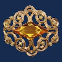 Vintage Ledo Faux Topaz Gold Toned Brooch