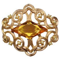 Vintage Signed Ledo Faux Pearl and Clear Amber Rhinestone Gold Toned Brooch