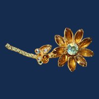 Vintage D&E Juliana Topaz AB Flower Brooch