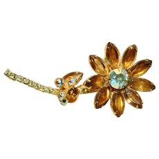 Vintage D&E Stemmed Flower Brooch with Topaz and AB Colored  Stones,