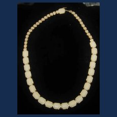 Vintage Signed Weiss Cream Colored Bakelite Gold Toned Necklace
