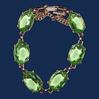 Vintage Unsigned Light Green Rhinestone Bracelet
