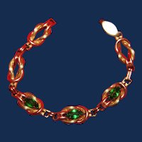 Vintage Gold Plated Green Rhinestone Love Knot Tennis Bracelet
