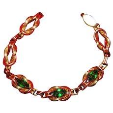 Vintage Gold Plated Green Rhinestone Love Knot Tennis Bracelet