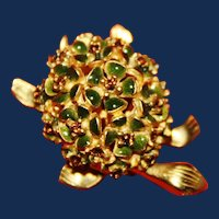 Vintage Alice Caviness Turtle Brooch With Green Enamel Flowers and Topaz Rhinestones
