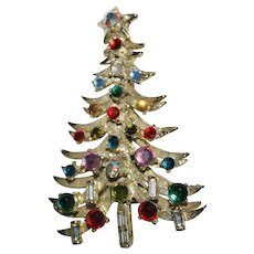 Vintage Signed HollyCraft Christmas Tree Brooch