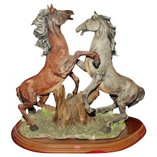 Vintage Capodimonte Hand Painted Porcelain Fighting Horses.