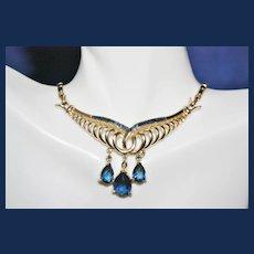 Vintage Coro Blue Rhinestone Necklace