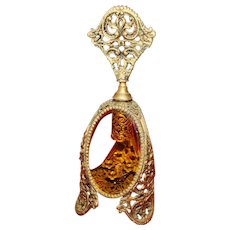 Vintage Gold Toned French Perfume Bottle with Amber Glass