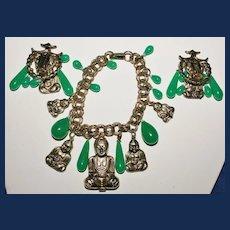 Vintage Buddha Bracelet and Matching Earrings