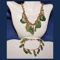 Vintage Unsigned Fuchsite Tassel Earrings, Necklace, and Bracelet