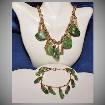 Vintage Unsigned Fuchsite Tassel Earrings, Necklace, and Bracelet
