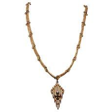 Vintage Crown Trifari Gold Toned Arrow Pendant Necklace