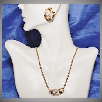Roman 14kt Gold Plate Rhinestone Necklace and Earrings