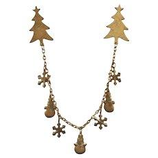 Vintage Bronze 2 Pin Christmas Charm Brooch