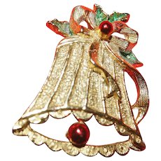 Vintage Gerry's Christmas Bell Brooch 10kt Gold Plate.