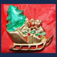 Vintage AAI 12kt Gold Plate Christmas Sled