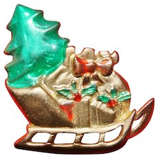 Vintage AAI 12kt Gold Plate Christmas Sled