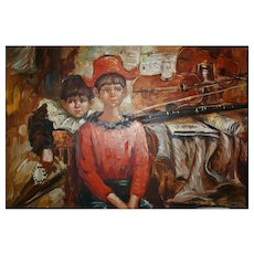 Signed E. Vallo Oil Painting of Children and Music