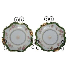 Antique pair of (Blakeman & Henderson) 18 kt Gold Limoges Plates
