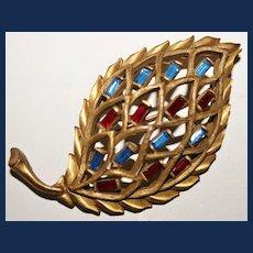 Vintage Trifari Bronze-Tone Leaf Brooch (Book Piece)