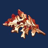 Unsigned Vintage Copper Leaf Brooch