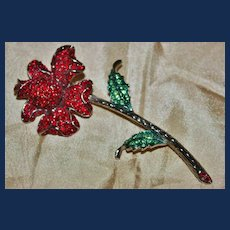 Vintage Unsigned Red and Green Rhinestone Rose Brooch