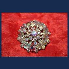 Vintage Aurora Borealis Beads and Rhinestone Brooch