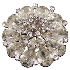 Vintage Three Tier Blooming Rhinestone Brooch