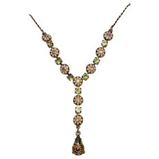 Vintage Avon Guilloche Enamel & Topaz Rhinestone Necklace