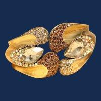 """Vintage """"Yuhong"""" Signed Gold-Toned Hinged Rhinestone Bracelet."""