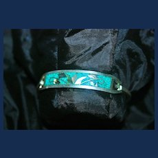Vintage Taxco-Mexico Silver with Mother of Pearl and Turquoise Bracelet