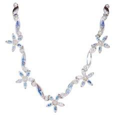 Vintage Unsigned Aurora Borealis Rhinestone Flower Necklace