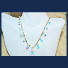 Vintage Sarah Cov. Rivoli Crystal Fire Necklace