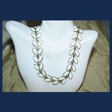 Signed Vintage Trifari Milk Glass Necklace
