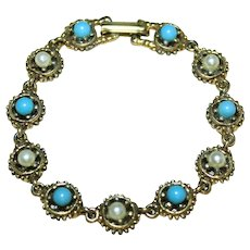 Vintage Unsigned Wagon Wheel Bracelet with imitation Pearl and Turquoise