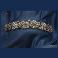 1950's Floral AB Enamel Panel Bracelet