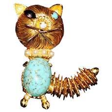 Vintage 1960's Wire Wrapped Faux Turquoise Belly Cat Pin