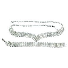 Vintage Silver Toned with Rhinestone Bracelet and Necklace.
