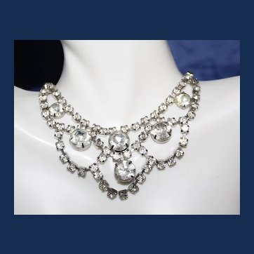 Vintage Unsigned Festoon Rhinestone Choker Necklace